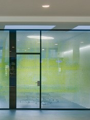 Glass partition wall with decoration