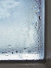 Fogged glass with condensation water