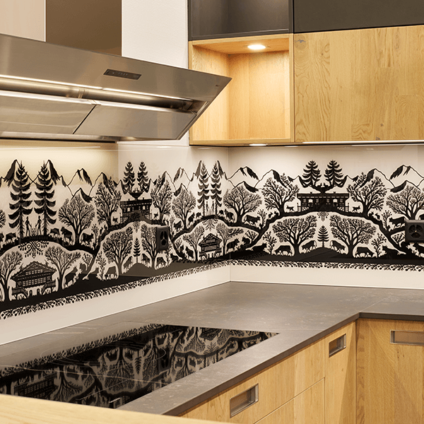 Kitchen back wall made of glass with silk grey glossy silk cut motif