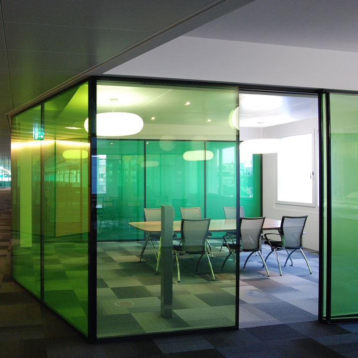 Coloured glass partition wall