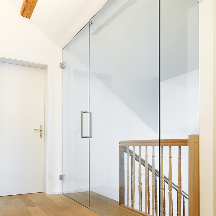 Glass door with side panel
