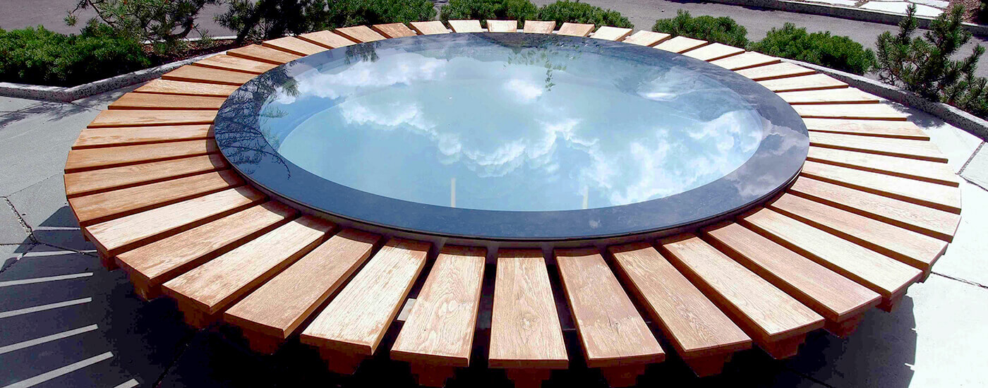 round skylight with wooden panels
